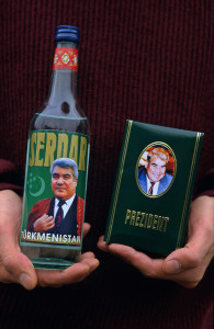 Ashgabat, Turkmenistan, October 1997. Vodka and perfume packaged with the portrait of President Saparmurat Niyazov. Poverty-stricken, but rich in oil and gas resources, this Central Asian former Soviet republic is ruled by the autocratic President Saparmurat Niyazov, or Turkmenbashi as he has renamed himself.