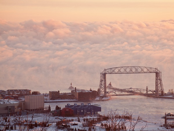 Duluth's Aerial Lift Bridge is graced by a backdrop of Lake Supe